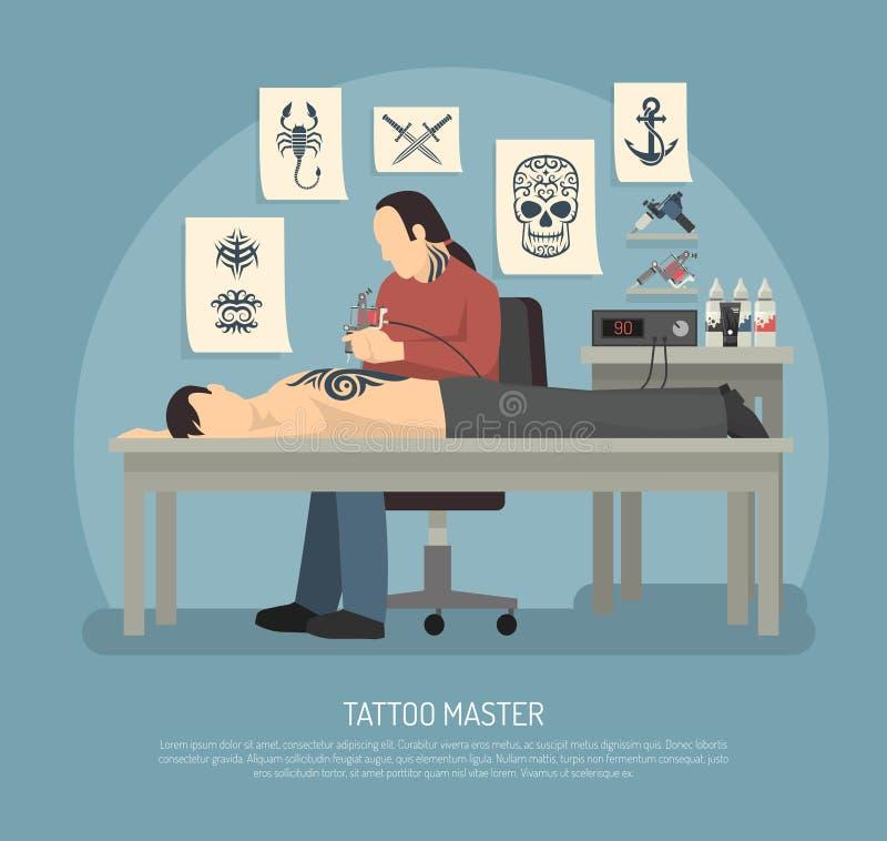 Composition en studio de tatouage illustration de vecteur