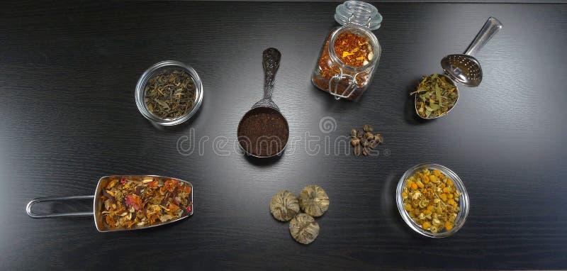 Composition en thé avec le vrai thé et fleurs de thé, jasmin, camomille, thé noir, thé de santé au fond en bois noir image stock