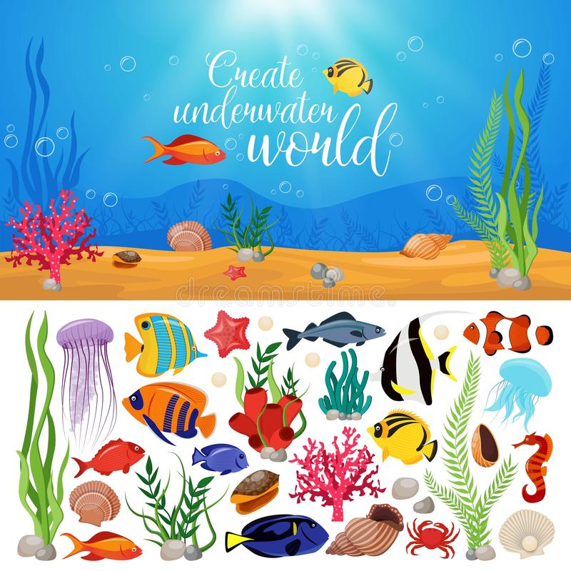 Composition en usines d'animaux de vie marine illustration stock