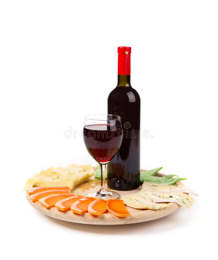 Composition en vin rouge et en fromage photographie stock