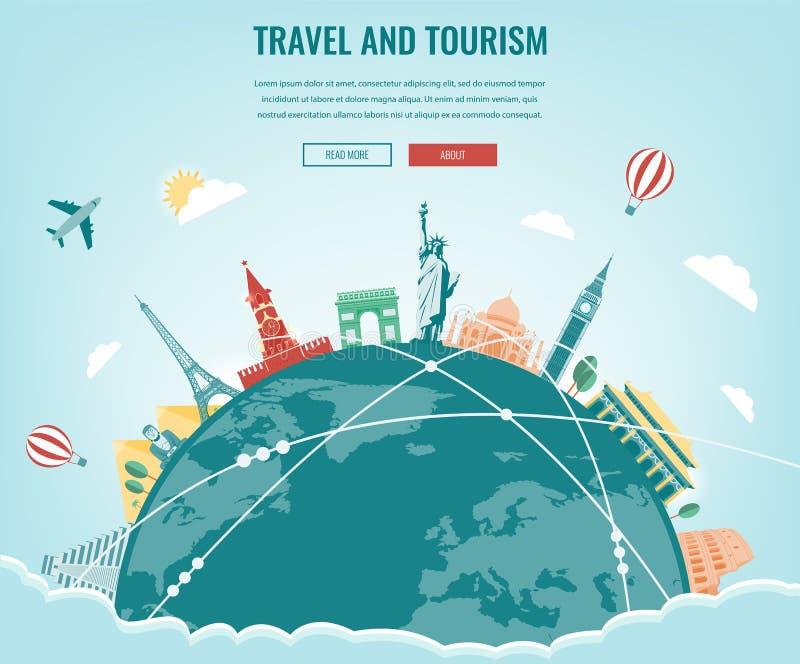 Composition en voyage avec les points de repère célèbres du monde Voyage et tourisme Calibre de site Web de concept Vecteur illustration stock