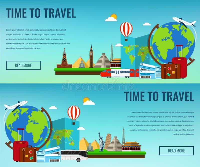 Composition en voyage avec les points de repère célèbres du monde Voyage et tourisme Calibre de site Web de concept Illustration  illustration stock