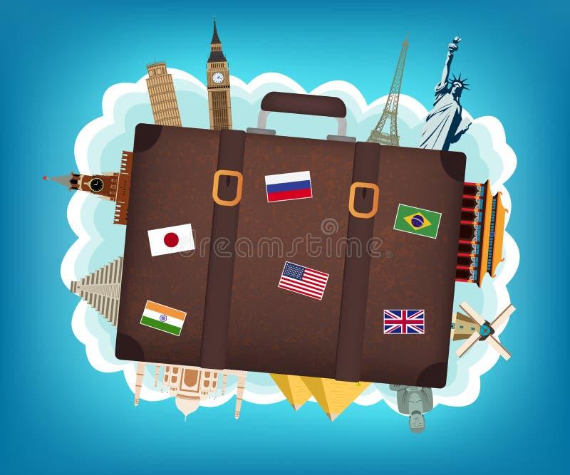 Composition en voyage avec les points de repère célèbres du monde Voyage et tourisme Vecteur illustration de vecteur
