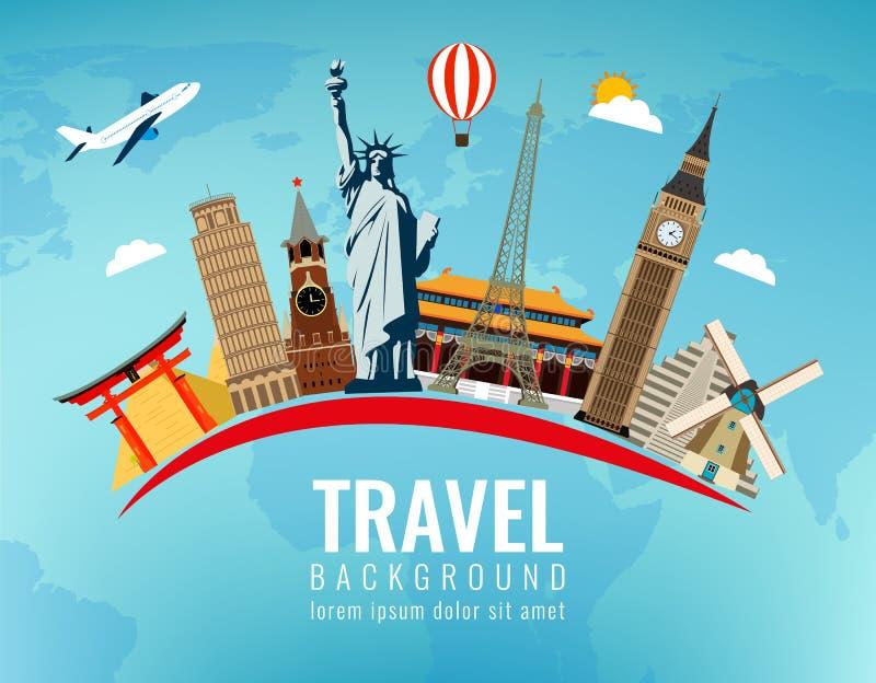 Composition en voyage avec les points de repère célèbres du monde Voyage et tourisme Vecteur Conception plate moderne illustration stock