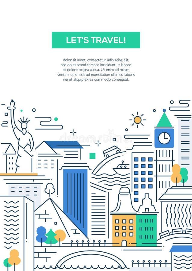 Composition en voyage - ligne bannière plate de conception illustration libre de droits