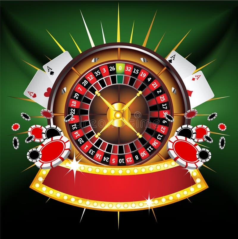 Composition or-encadrée par casino avec la roue de roulette illustration libre de droits