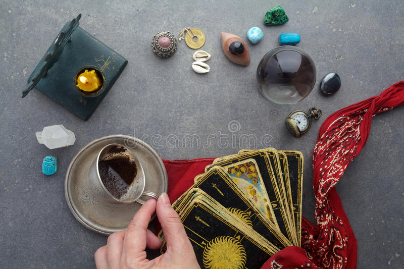 Composition of esoteric objects, used for healing and fortune-telling stock images
