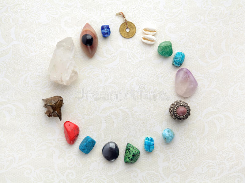 Composition of esoteric objects, used for healing and fortune-telling stock photography