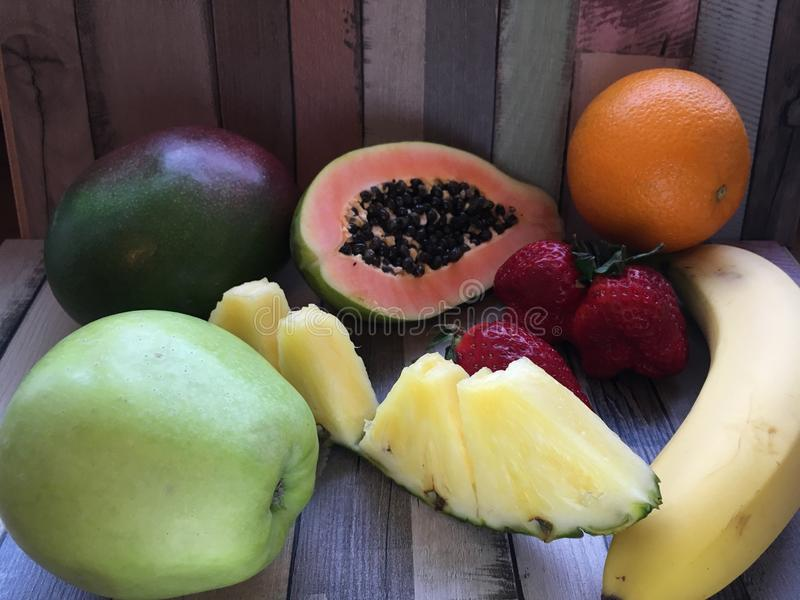 Composition of exotic fruits stock images