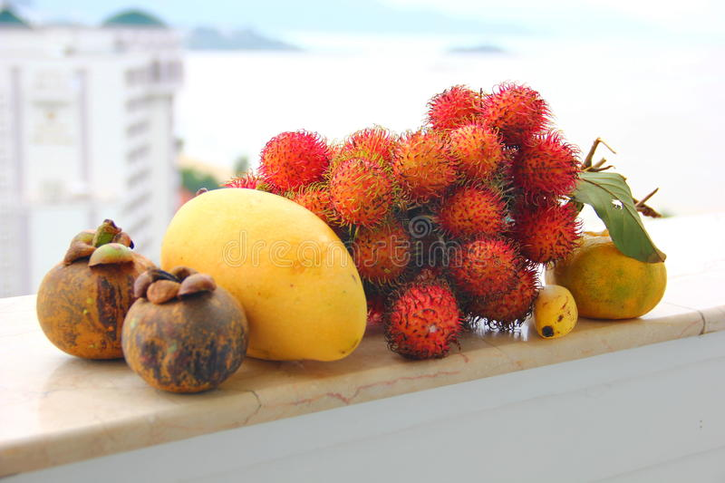 Composition of exotic fruits stock photo