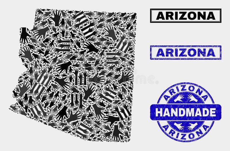 Composition faite main de carte d'état de l'Arizona et de timbre texturisé illustration stock