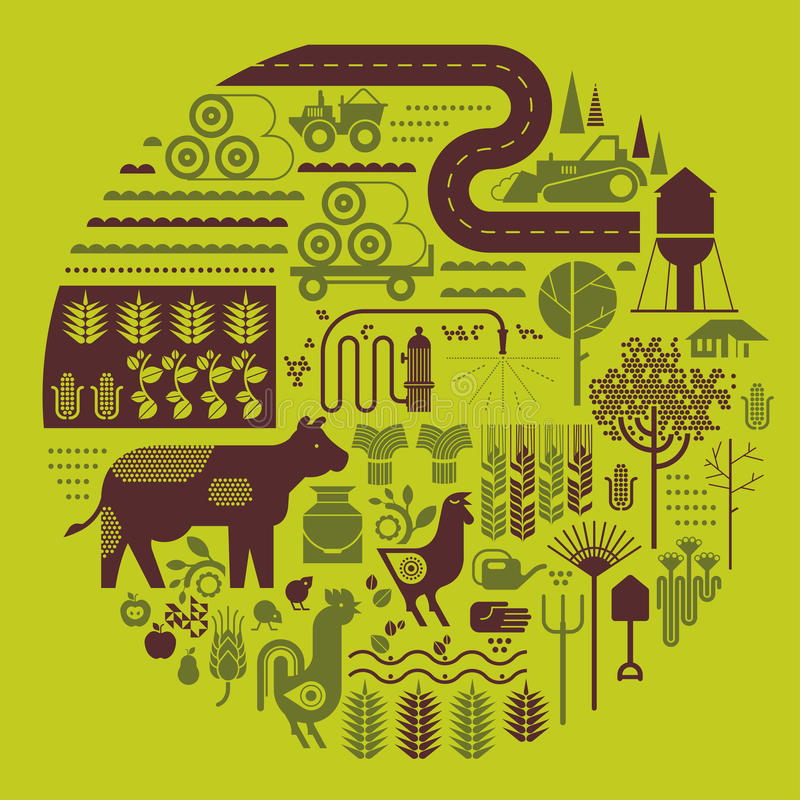 Composition with farming silhouettes. Composition with farming and agriculture silhouettes in shape of circle stock illustration