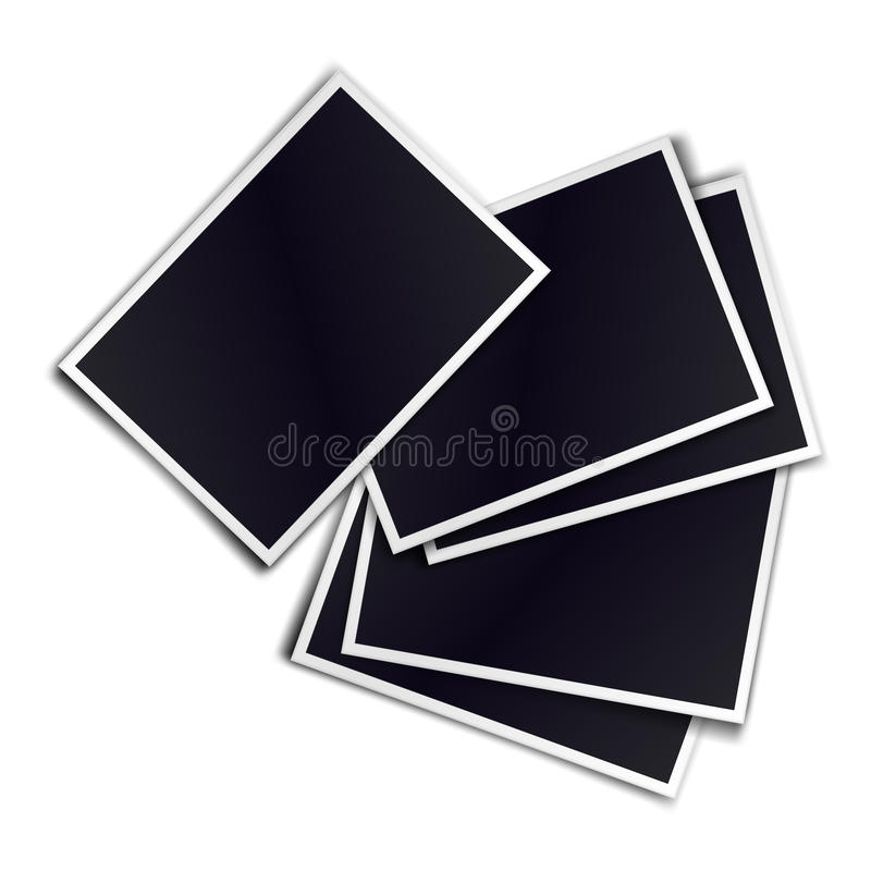 Composition of five blank realistic black photo frames on white vector illustration