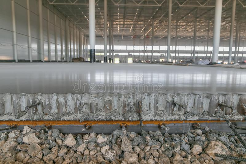 The composition of the floor slab during the construction of the factory royalty free stock photos