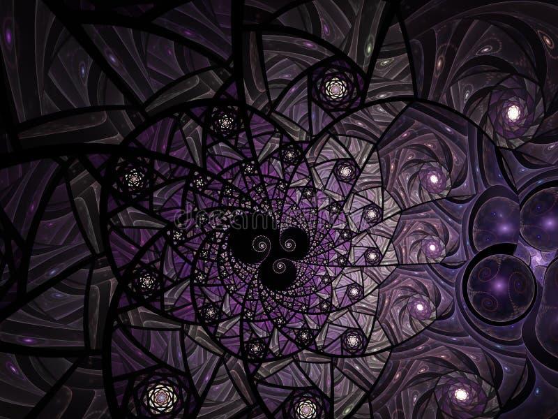 Composition florale abstraite en verre de tache de mosa?que dans le ton pourpre et gris illustration de vecteur