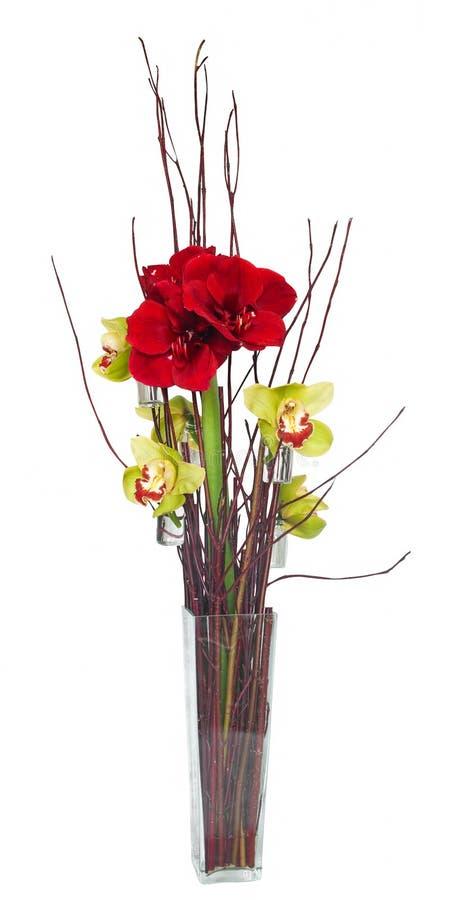 composition florale avec les orchid es et l 39 amaryllis. Black Bedroom Furniture Sets. Home Design Ideas