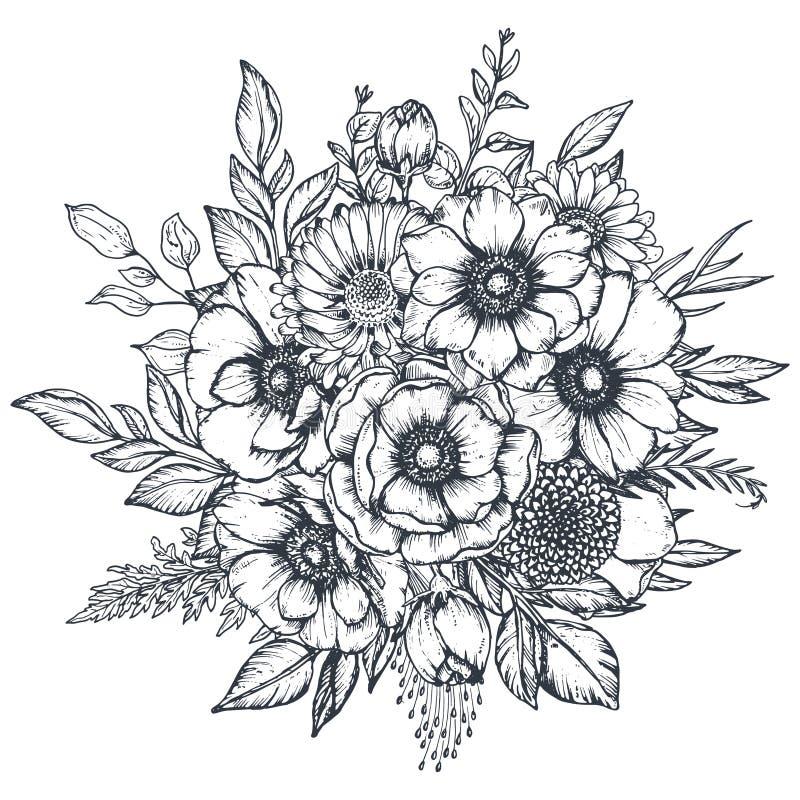 Composition florale de vecteur des fleurs tirées par la main d'anémone illustration stock
