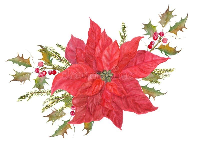 Composition florale rouge en poinsettia illustration libre de droits