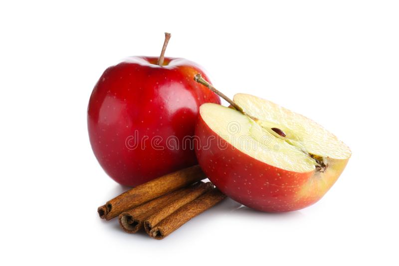 Composition with fresh apples and cinnamon stock photo