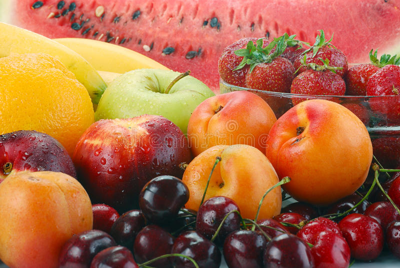 Composition with fruits stock images