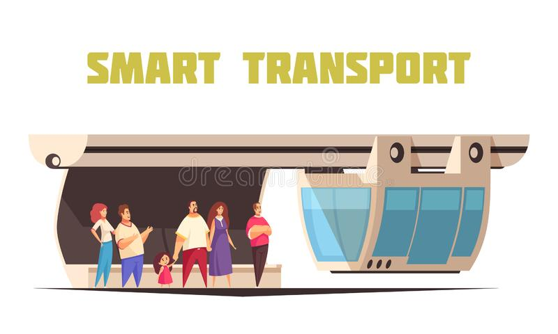 Composition futée en bande dessinée de transport illustration de vecteur