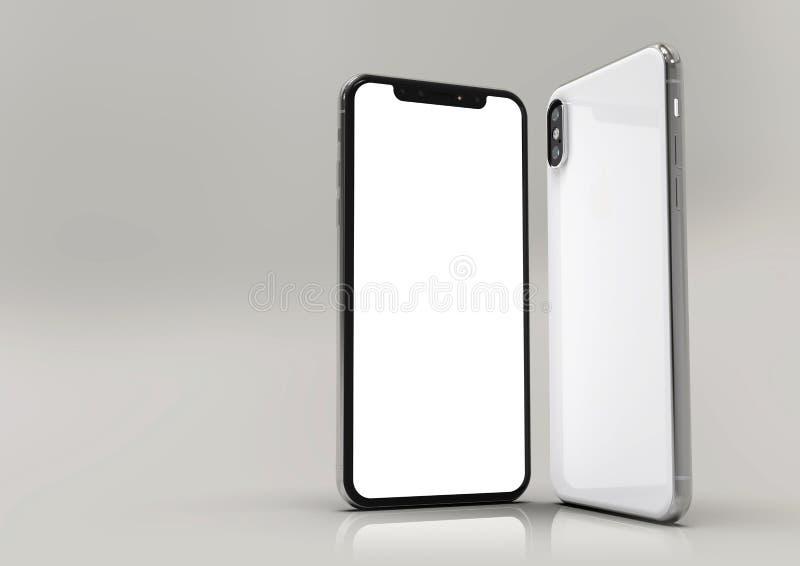composition futée en 2 téléphones de l'iPhone XS, écran blanc