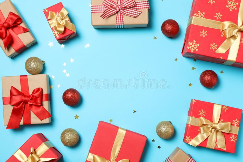 Composition with gift boxes on blue background. Space for text stock photo
