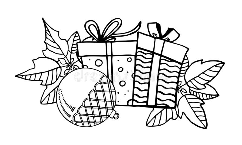Composition with gift boxes, Christmas toys and poinsettia plants. Hand drawn outline vector illustration of New Year decorations stock illustration