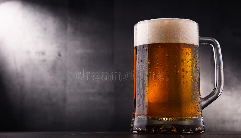 Composition with glass of beer.  royalty free stock photo