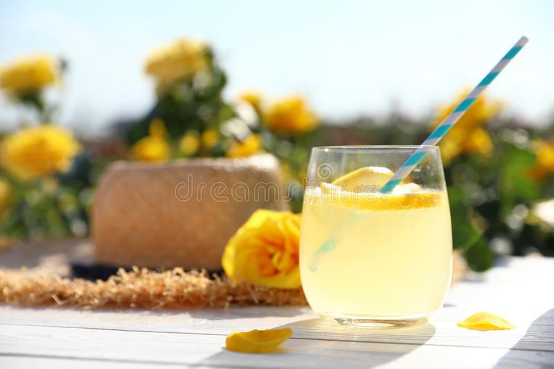 Composition with glass of refreshing lemonade and beautiful rose on white wooden table in blooming garden. Space for text stock images