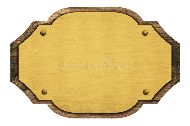 Composition of golden plaque, name plate, wooden stock image