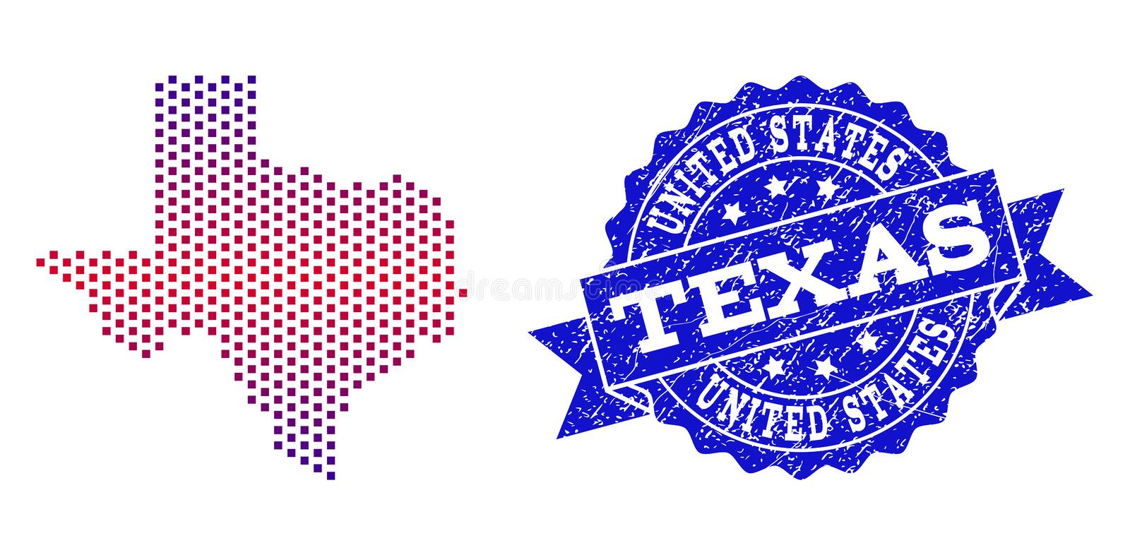 Composition of Gradiented Dotted Map of Texas State and Grunged Stamp. Geographic composition of dotted map of Texas State and grunge stamp. Mosaic vector map of stock illustration