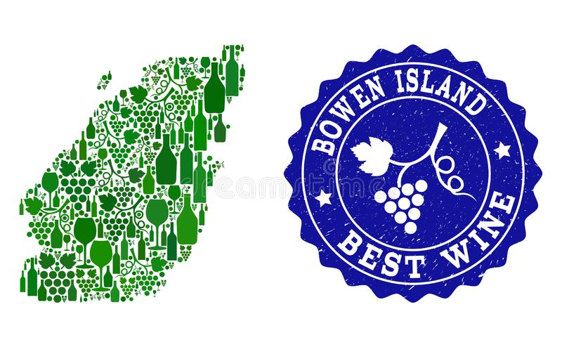 Composition of Grape Wine Map of Bowen Island and Best Wine Grunge Watermark. Vector collage of wine map of Bowen Island and best grape wine grunge seal stamp royalty free illustration
