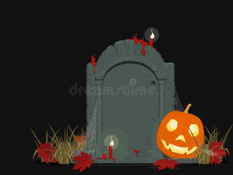 Composition of gravestone and Jack-O`-lantern of black background royalty free stock images