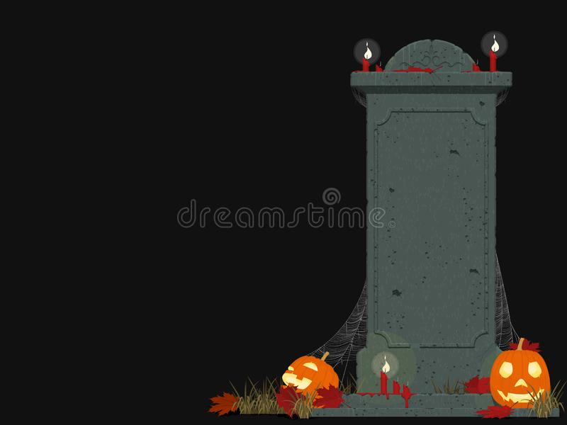 Composition of gravestone and Jack-O`-lantern of black background royalty free stock image