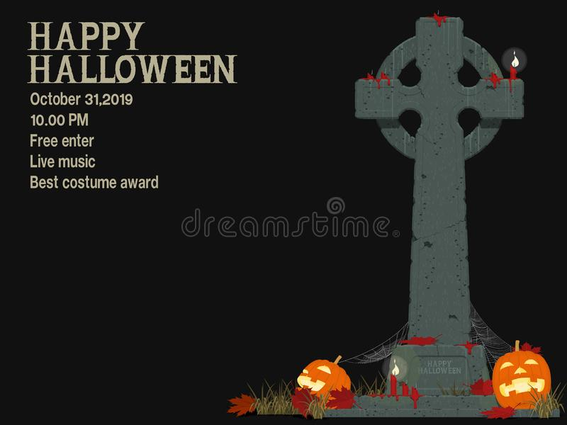 Composition of gravestone and Jack-O`-lantern of black background stock photos