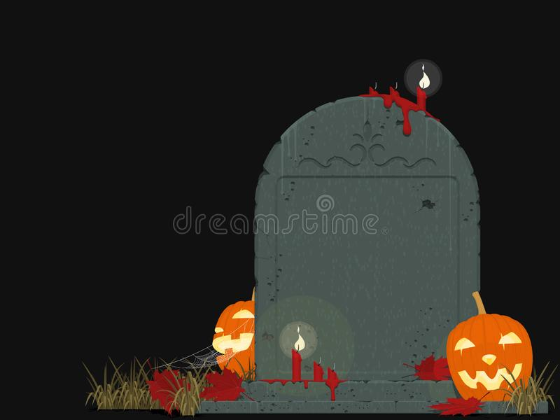 Composition of gravestone and Jack-O`-lantern of black background stock photography