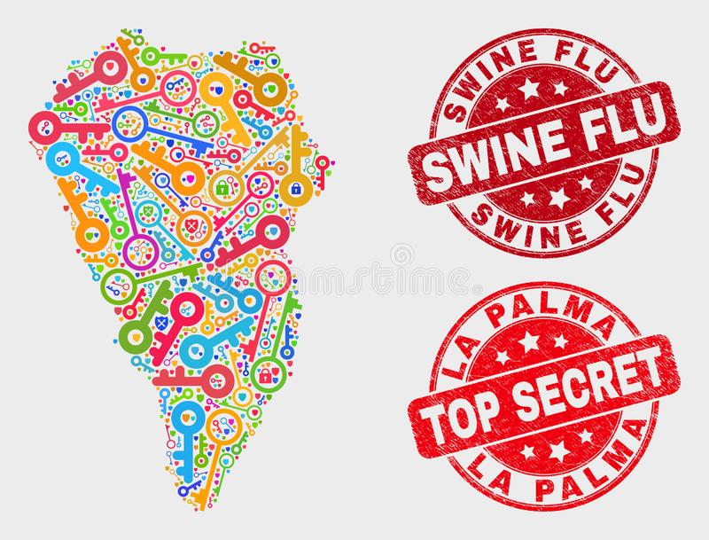 Composition of Guard La Palma Island Map and Distress Swine Flu Seal vector illustration