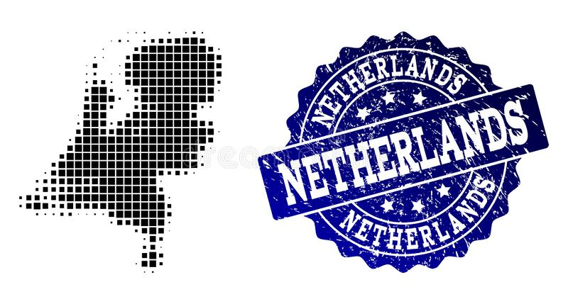 Composition of Halftone Dotted Map of Netherlands and Grunge Stamp Watermark royalty free illustration