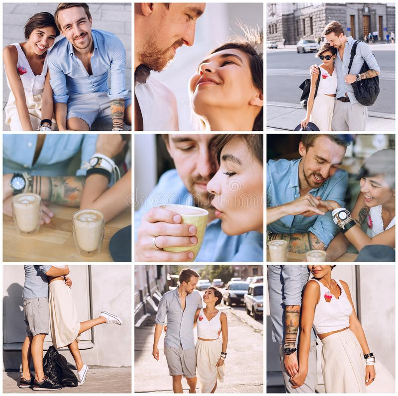 Composition of happy couple in city royalty free stock photography