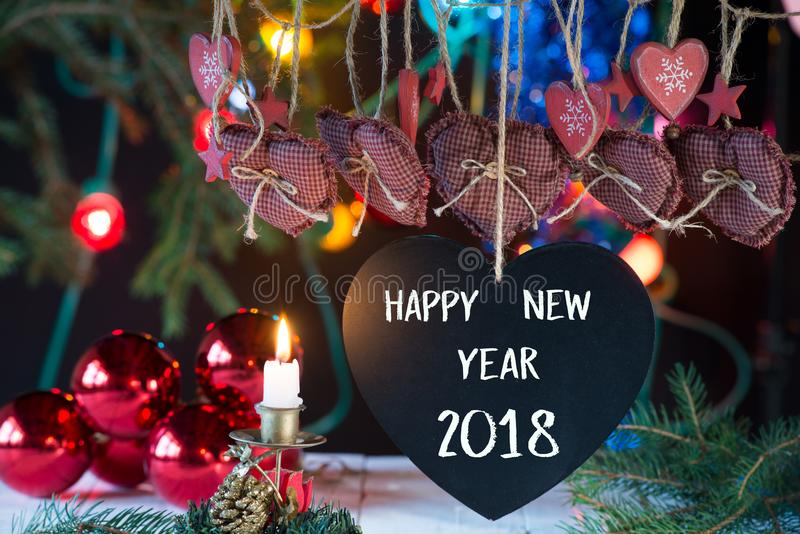 Composition of new year 2018 stock photo