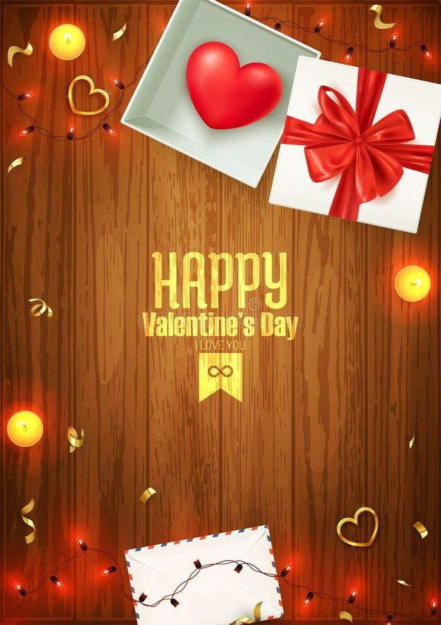 Composition heureuse en Saint-Valentin, carte postale d'amour, bannière, calibre de fond, ilustration de vecteur illustration de vecteur