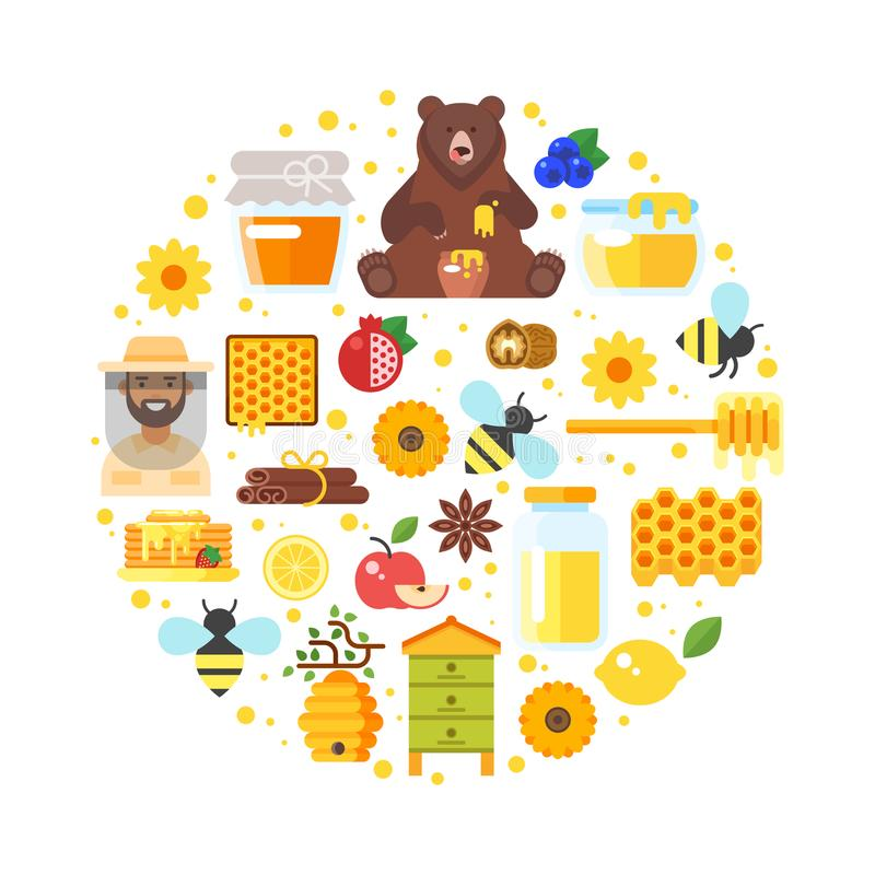Composition of honey icons stock illustration