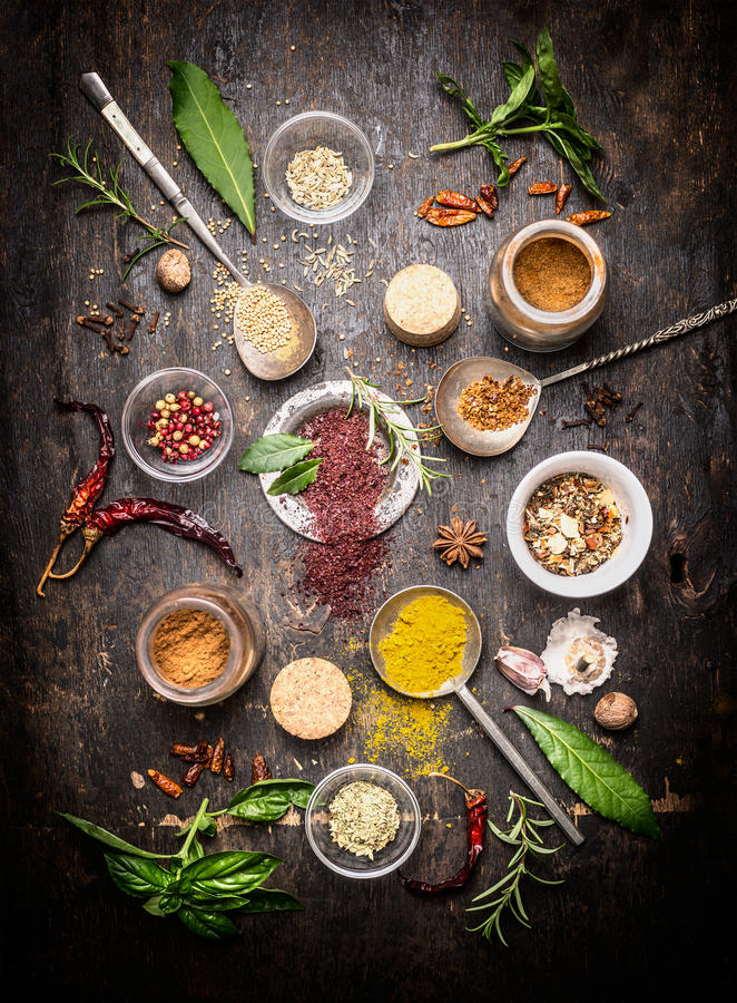 Composition of hot spices and fresh flavoring herbs on dark rustic wooden background royalty free stock photos