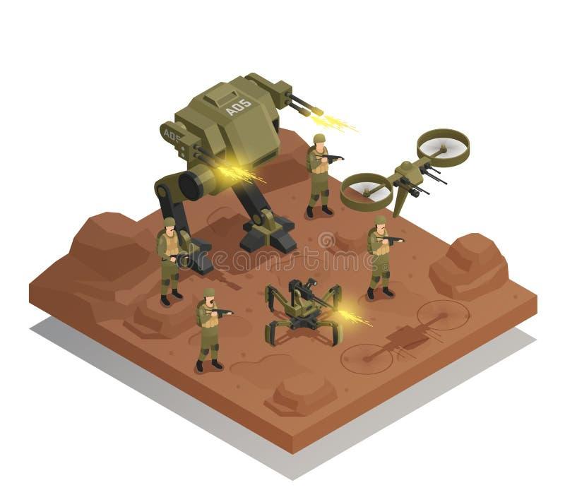 Composition isométrique de combat en robots illustration stock
