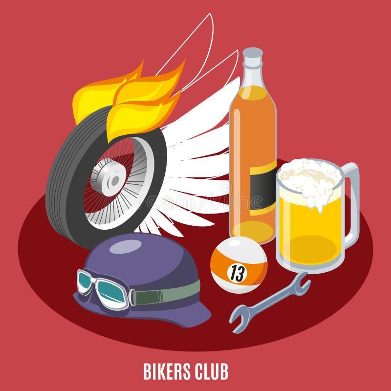 Composition isométrique en attributs de cyclistes illustration de vecteur