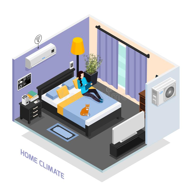 Composition isométrique en climat à la maison illustration de vecteur