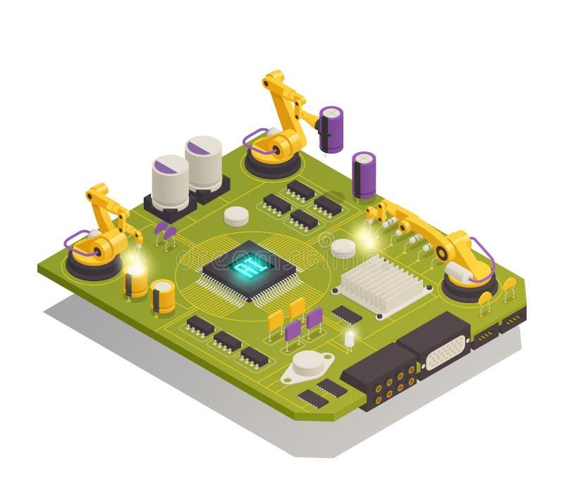 Composition isométrique en composants électroniques de semi-conducteur illustration stock