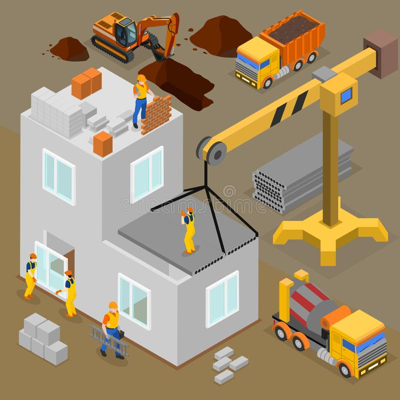 Composition isométrique en construction moderne illustration stock