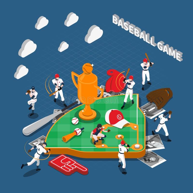 Composition isométrique en jeu de baseball illustration libre de droits
